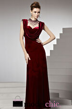 Red Velvet Jewelled Neck Evening Prom Bridesmaid Ball Wedding Gown Maxi Dress