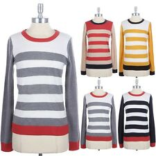 Long Sleeve Contrast Color Striped Crewneck Sweater Knit Comfy Top Casual S M L