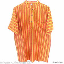 Nepalese Summer Cool Hippy Boho Grandad Collar Light Easy Cotton Stripe T-Shirt