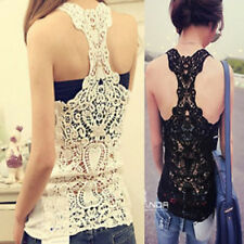 Women Lady Girl back Embroidery Crotchet Tanks Vests Singlet Camisole underwear