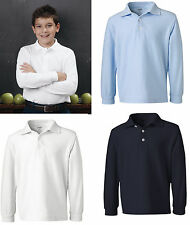 French Toast - Boys' Long Sleeve Pique Polo - A9085,5-20 NEW