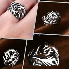 Men's Punk Gothic Biker Antique Polish Classic Stainless Steel Dragon Ring Band