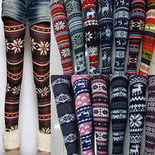 NEW Womens Casual Knitted Snowflake Reindeer leggings soft stretchy tights pants