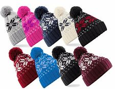 Adults Warm Snowstar Snowflake Soft Touch Acrylic Bobble Pom Pom Ski Hat Beanie