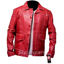Mens Fight Club Tyler Durden Brad Pitt Vintage Red Genuine Movie Leather Jacket