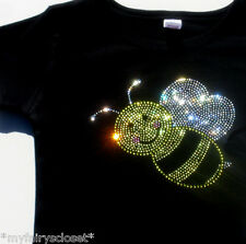 2T 3T/4T 5T/6 Bumble Bee rhinestone black t shirt for bumblebee costume