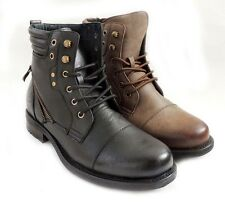 New Mens Fashion Military Style Design Combat Lace-up Rugged Leather lined boots