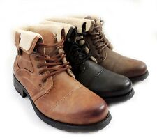 NEW MENS ANKLE BOOTS MILITARY COMBAT STYLE LEATHER LINED ROOLLOVER SHOES LACE UP