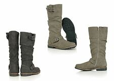 Womens Leather Insole Full Zip Buckle Ladies Biker Winter Knee Length Boots Size