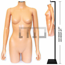 PLASTIC, FULL FEMALE MANNEQUIN DISPLAY TORSO/ BUST/ BODY FORM WTH OPTIONAL STAND