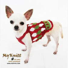 Christmas Dog Clothing Harness Pet Elf Costume Houndstooth Plaid Crochet DF3