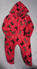 Childrens Babys Girls Bow Print Pink Hooded Onesie All In One 0-13 Years