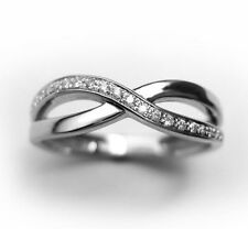 Diamond Infinity Knot Ring, Solid 14k White Gold, Infinity Diamond Ring