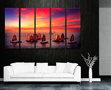 SUNTET/SAILING BAOTS/SEASCAPE 5panel mounted wall art/Surpassed stretched canvas