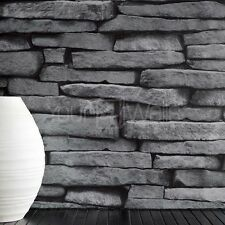 'Forest of Dean' Stone Brick Wallpaper in Black Silver & Grey