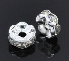 Wholesale Mixed Lots Silver Plated Rhinestone Rondelles Spacer Beads 5mm Dia.