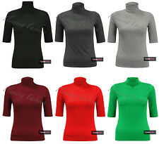New Womens 3/4 Short Sleeve Turtle Polo Neck Stretch T Shirt Stretch Top Ladies
