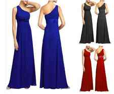 Beaded Chiffon Full Length One Shoulder Dress Party Bridesmaid Evening  9114