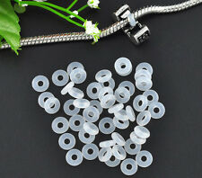 Wholesale Lots White Rubber Stopper Rings Beads Fit European Clip Beads 6x1.9mm