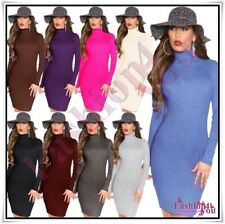 Stripped Jumper Dress Sexy Women's Knitted Turtleneck ONE SIZE 8,10,12,14 UK