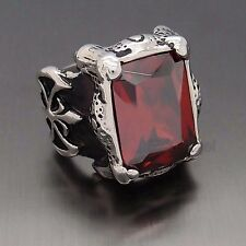 Men Silver Dragon Claw Ruby Red CZ 316L Stainless Steel Biker Ring