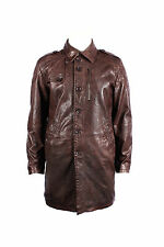 Men's M-142 Brown Soft Napa German Reefer Long Button Coat Casual Leather Jacket