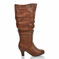 Brand32W Brown Vintage Slouchy Mid Heel Knee High Boots Women Shoe Size