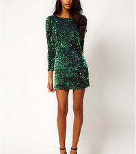 Latest V Back Sparkle Sequins Mini Fitted Bodycon Dress Skirt Clubwear Evening