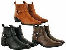 MENS COWBOY ANKLE  HARNESS CUBAN HEEL BOOTS BOYS PULL ON SHOES UK SIZE 6-12