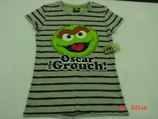 NWT Womens Sesame Street Graphic Tee Shirt Top Gray Colorful Oscar the Grouch