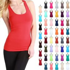 High Quality Seamless Solid Racerback Tank Top Sleeveless Stretch Span ONE SIZE