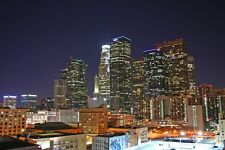 LOS ANGELES SKYLINE AT NIGHT GLOSSY POSTER PICTURE PHOTO la california cool 1408