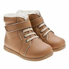 Boys Girls Toddler Infants Childrens Real Leather Boots - Tan and Fleece Lined