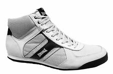 Mens Retro White Grey Leather Hi Top Boxing Style Trainers Boots Shoe Size 7-12