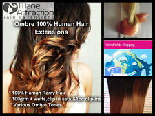"Wefted Extensions 100% Remy Human Hair 18"" 4AAAA Ombre/Dip Dye"