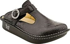 Women's Alegria Comfort Clogs Classic Black Embossed Rose Leather ALG-531