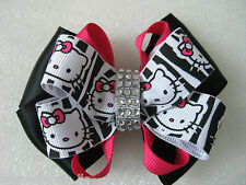 Girls Pink Black White Zebra Hello Kitty Rhinestone Bling Hair Bow Barrette Clip