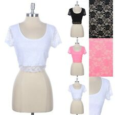 Full Floral Lace Cropped Top Short Sleeve Front Lining Scoop Neck Sexy S M L