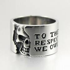 316L Stainless Steel Motto On Wide Skull Mens Biker Ring B027