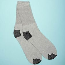 12 Pairs 1 Dozen Cotton Gray with Black Heel & Toe Athletic Casual Crew Socks