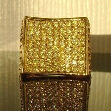 SALE*IMPERFECT*Mens Simulate Canary Yellow Diamond 14k Gold GP HipHop Pinky Ring