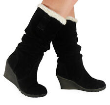 NEW WOMENS LADIES MID-CALF FAUX SUEDE WINTER WEDGE HEEL WARM BOOTS SHOES SIZE