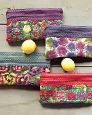 Embroidered Floral Polka Dot Cosmetic Bag Purse Clutch fair trade eco