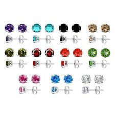 2Ct. Solid Sterling Silver 4 Prong Round CZ Stud Earrings
