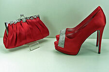 Shoes Matching Bag Red Satin Diamante Arched Peep Toe High 5.25'' Heel 1.25 Plat