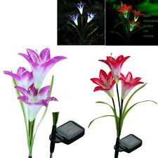 Solar Power Lily Flower Light Control LED Lawn Garden Lamp multi-color changing
