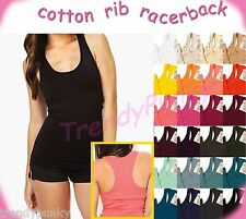 STRETCHY Basic COTTON  Ribbed RACERBACK Slim Fit Long Tank Top Shirt Sports
