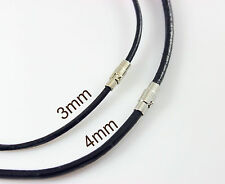 """3mm-4mm 14""""-40"""" 100% Genuine Leather Cord Mens Stainless Steel Buckle Necklace"""