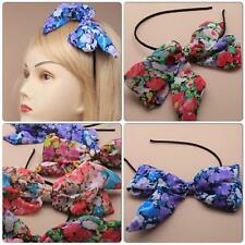 LARGE FLOPPY FLORAL PRINT CHIFFON BOW ON ALICE BAND