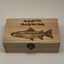 Fly Fishing Box Personalised Free Hand crafted Made From Wood